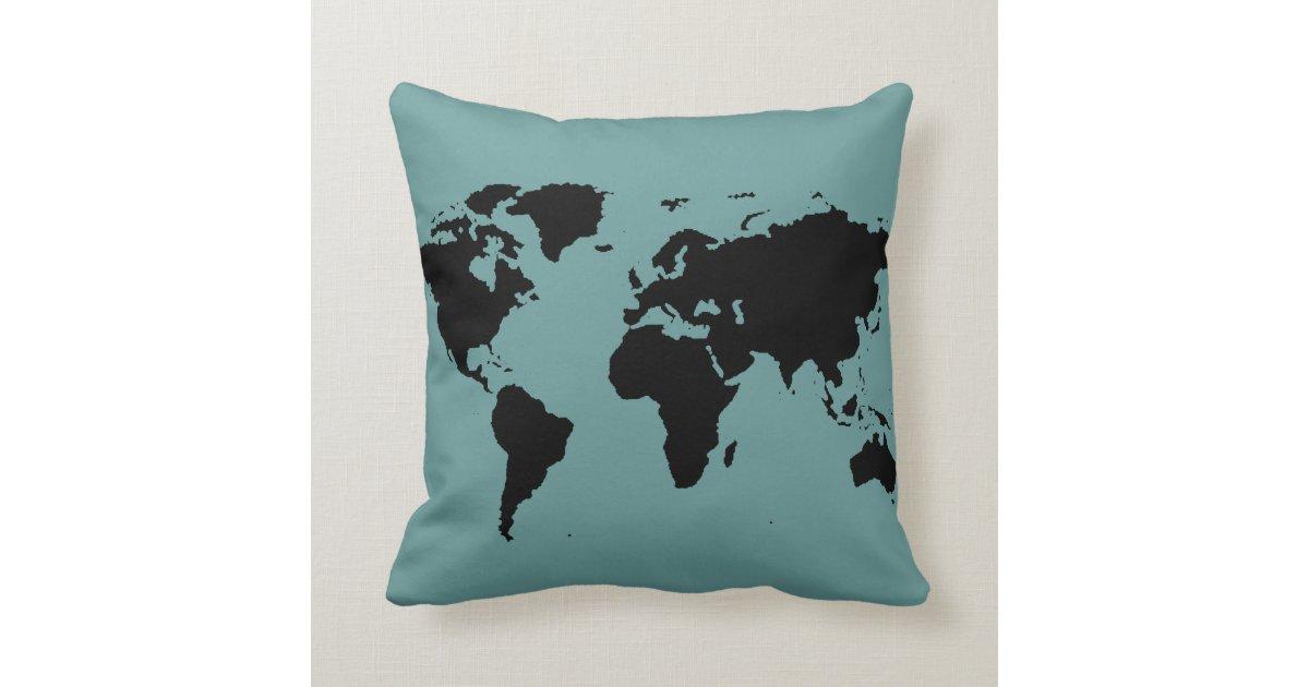 stylized black world map throw pillow Zazzle