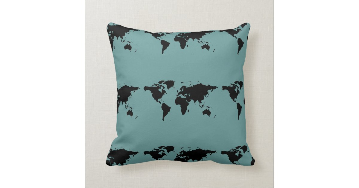 Throw Pillows With World Map : stylized black world map throw pillow Zazzle