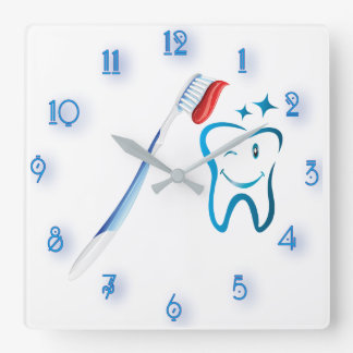 Stylized Blue Dental Cartoon Tooth Toothbrush Square Wall Clock
