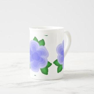 Stylized Blue Flower Bone China Mug