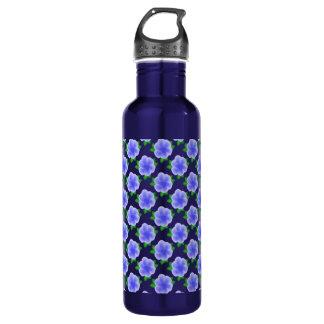 Stylized Blue Flower 24oz Water Bottle