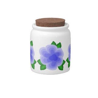 Stylized Blue Flower Sugar / Candy Jar