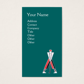 STYLIZED BLUE RED GOLFER,GOLF INSTRUCTOR MONOGRAM BUSINESS CARD