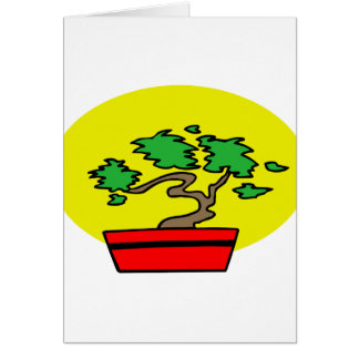 Stylized Bonsai Red Pot Yellow Sun Graphic Image Card