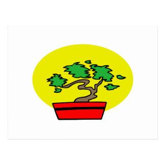 Stylized Bonsai Red Pot Yellow Sun Graphic Image Postcard