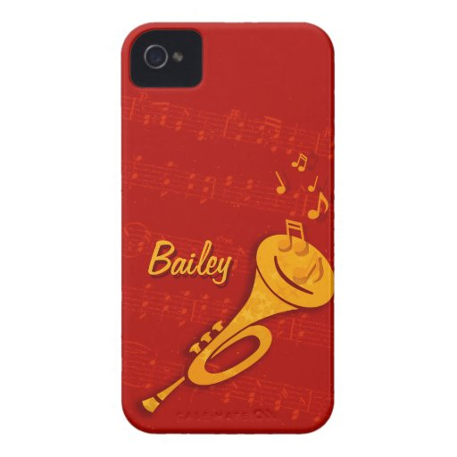 Stylized brass trumpet red name iphone4 case