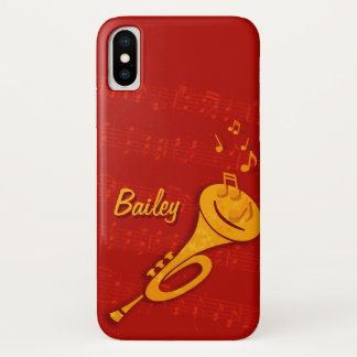 Stylized brass trumpet red name iphone case