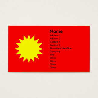 Stylized Bright Yellow Sun on Red Background Business Card
