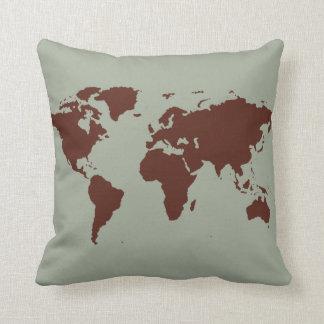stylized brown world map pillow