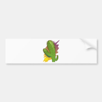 Stylized Cartoon Cactus at Sunset Bumper Sticker