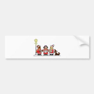 Stylized Cartoon Christmas Carolers Caroling Car Bumper Sticker