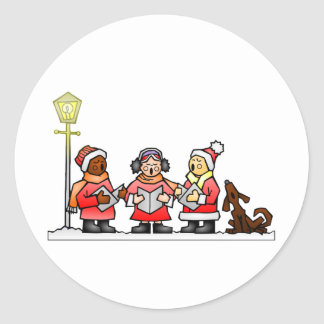 Stylized Cartoon Christmas Carolers Caroling Classic Round Sticker