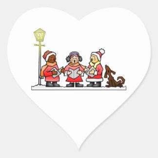 Stylized Cartoon Christmas Carolers Caroling Heart Sticker