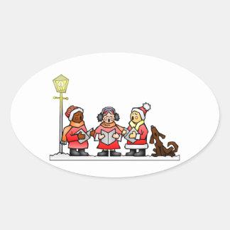 Stylized Cartoon Christmas Carolers Caroling Oval Sticker