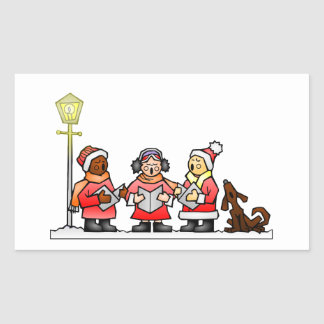 Stylized Cartoon Christmas Carolers Caroling Rectangular Sticker