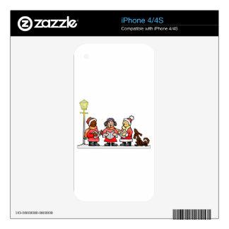 Stylized Cartoon Christmas Carolers Caroling iPhone 4 Decals
