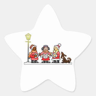 Stylized Cartoon Christmas Carolers Caroling Star Sticker