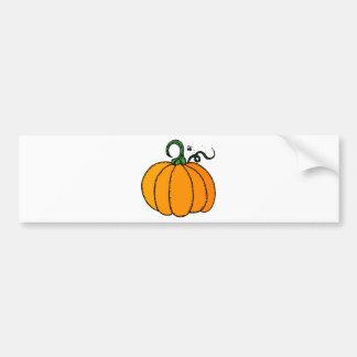 Stylized Cartoon Pumpkin with Fly Buzzing Nearby Bumper Sticker