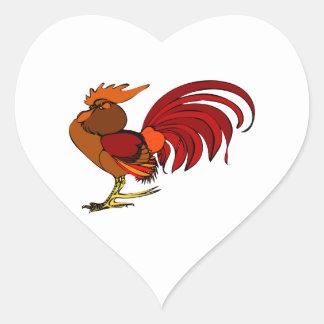 Stylized Cartoon Rooster Heart Sticker