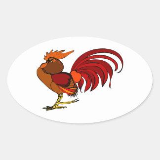 Stylized Cartoon Rooster Oval Sticker