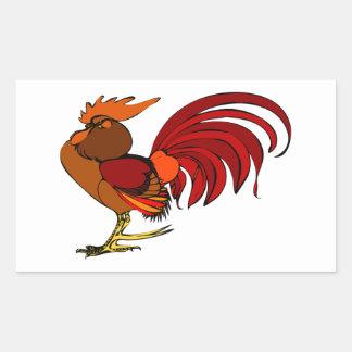 Stylized Cartoon Rooster Rectangular Sticker