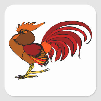 Stylized Cartoon Rooster Square Sticker