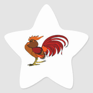 Stylized Cartoon Rooster Star Sticker