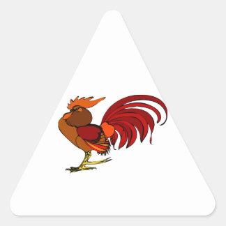 Stylized Cartoon Rooster Triangle Sticker