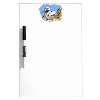 Stylized Cartoon Seagull Near Mountain Stream Dry Erase Whiteboards