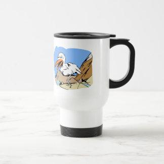 Stylized Cartoon Seagull Near Mountain Stream Coffee Mug