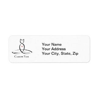 Stylized Cat Meditator with customizable text Label