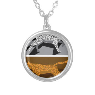 Stylized cat vector silver plated necklace