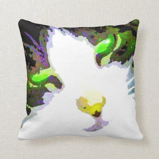 Stylized Cat w/Flower Back Pop Art Photo Throw Pillows