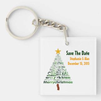 Stylized Christmas Tree Wedding Keychain