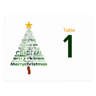 Stylized Christmas Table Number Cards Stylized Christmas