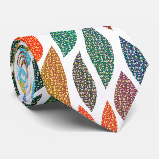 Stylized Colorful Abstract Leafs Neck Tie