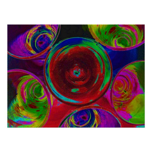 Stylized Coloured Cocktail Shot Glasses Poster