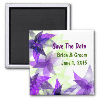 Stylized Daisies Purple Save The Date Magnet