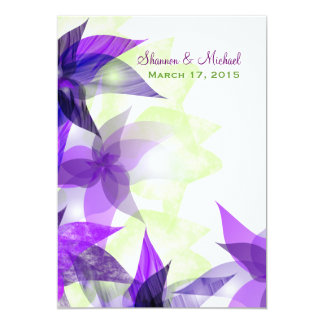Stylized Daisies Purple Wedding Invitation