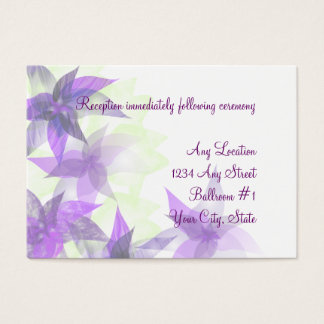 Stylized Daisies Purple Wedding Reception Cards