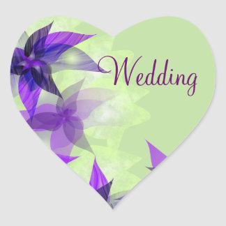 Stylized Daisies Purple Wedding Stickers