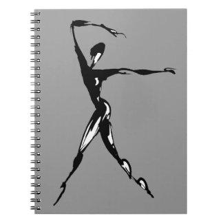 stylized dancing design spiral notebook