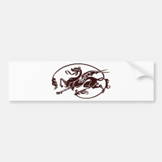 Stylized Dark Dragon with Long Tail and Tongue Bumper Sticker