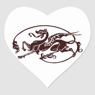 Stylized Dark Dragon with Long Tail and Tongue Heart Sticker