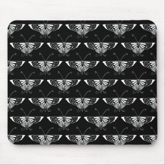 Stylized Deco butterfly  - black and white Mouse Pad