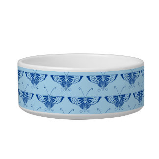 Stylized Deco butterfly  - cobalt and pale blue Pet Food Bowl