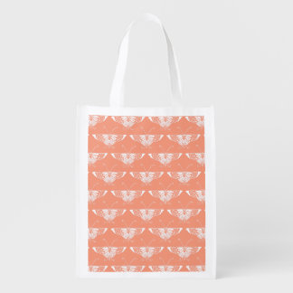 Stylized Deco butterfly  - coral orange Grocery Bag