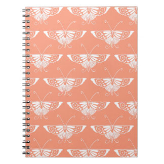 Stylized Deco butterfly  - coral orange Notebook