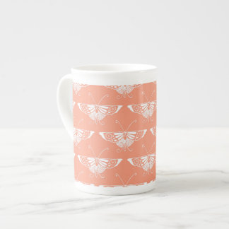 Stylized Deco butterfly  - coral orange Tea Cup