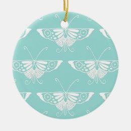 Stylized Deco butterfly  - ice blue Ceramic Ornament